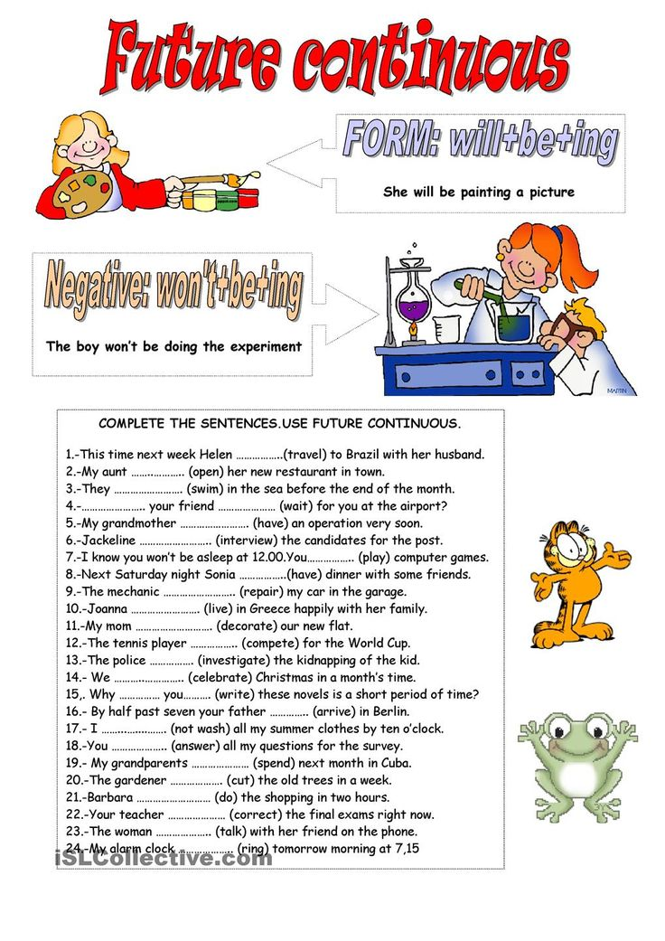 Future Continuous English Worksheets For Kids Teaching English