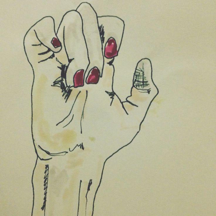 Talk to the hand #rednails #colours #drawings #art #szczepanrysuje #pencil #watercolour