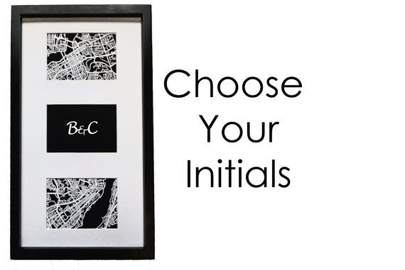 Paper cut map, duo of ANY 2 cities with personalized initials | 4x6 maps (x2) | FRAMED! - Valentine's Day Special!