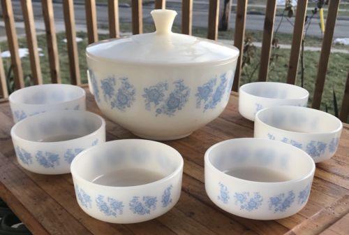 Vintage-Federal-Soup-Tureen-7-White-Bowls-Set-Dishes-Blue-Floral-Pattern