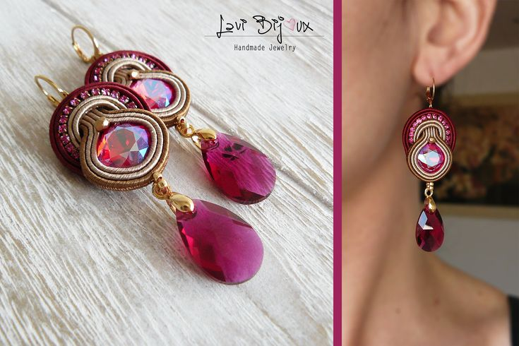 Soutache Earrings, Handmade Earrings, Hand Embroidered, Soutache Jewelry, Handmade from Italy, OOAK --------------------------------------- Earrings handmade by me with soutache embroidery technique. ITEM DETAILS: -Colors: pink, bordeaux, beige, brown, gold -Materials: soutache