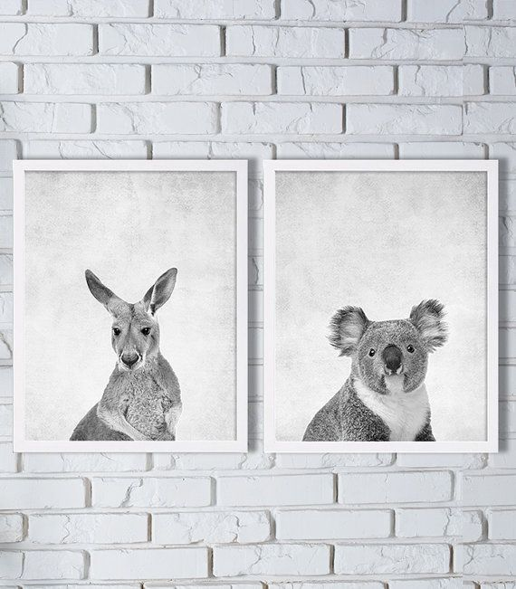 Australia Animal Prints Two Print Set Kangaroo Print Koala Bear Print Animal Art…