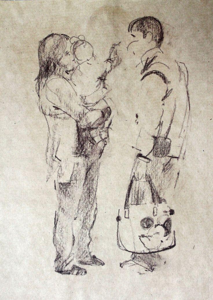 Титенков Владислав. Набросок. Молодая семья. А5.2013 Titenkov Vladislav. Sketch. Young family. A5.2013