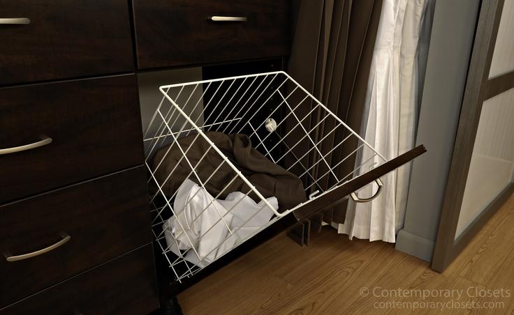 Tilt out hamper basket reach in closets pinterest - Diy tilt out hamper ...