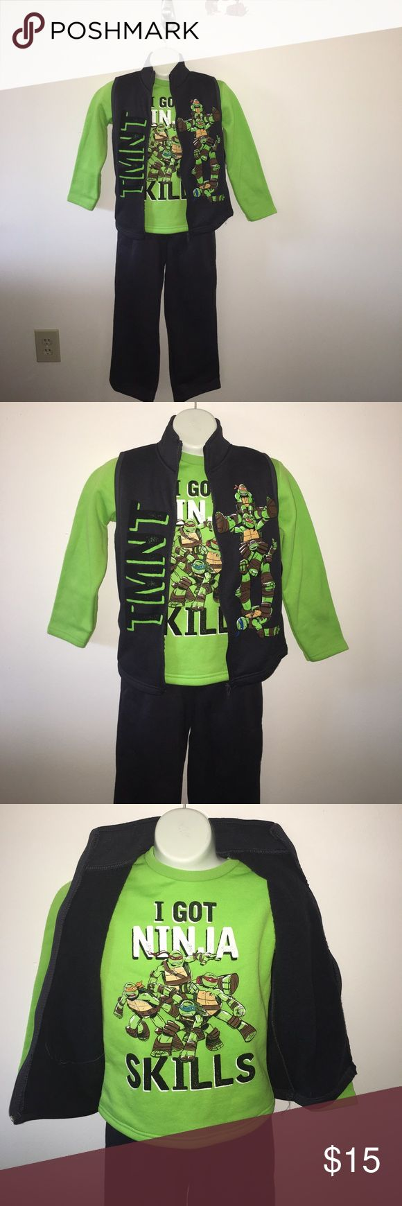 New Ninja Turtle outfit Any Ninja Turtle fan will love this outfit! It comes with the pants, sweatshirt, and vest. Comes from a clean pet/smoke free home Nickelodeon Matching Sets