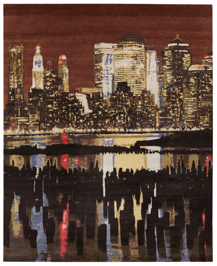 AMAZING wool & silk 8′ x 10′ rug of the nighttime New York City skyline! #NYC #loveofrugs