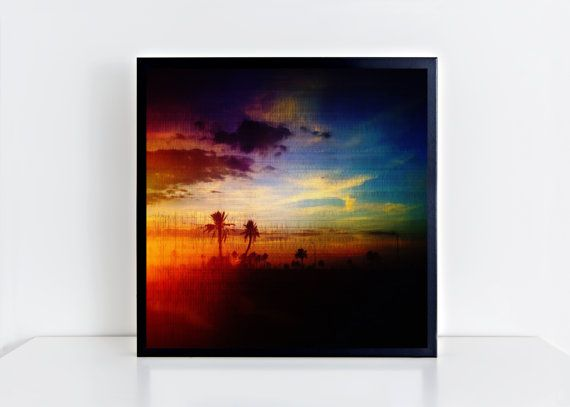 24x24,Lost. Square Giclee Matte Photo Print. Fine art print. Sunset. Photography art. Sacred Geometry. Palm trees.