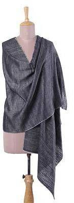 Grey Drifts Handwoven 100% Cashmere Wool Shawl in Grey from India. Shawl fashions. I'm an affiliate marketer. When you click on a link or buy from the retailer, I earn a commission.