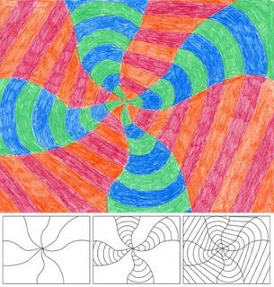 Math-themed abstract art...taught kids about warm and cool colours with this one