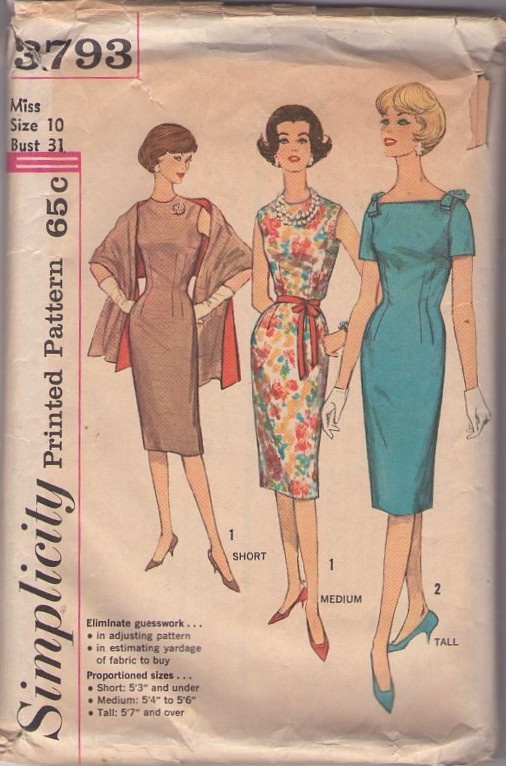 Simplicity 3793 Vintage 60's Sewing Pattern VORACIOUS Curve Hugging Dart Fitted Petite Mad Men Joan Office Party Sheath Dress & Stole, Shawl Cover Up #MOMSPatterns