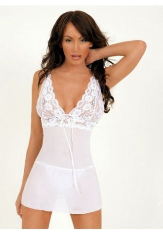 Chiffon Babydoll with Lace Embroidered Top (XXL available) - House of Sash Lingerie