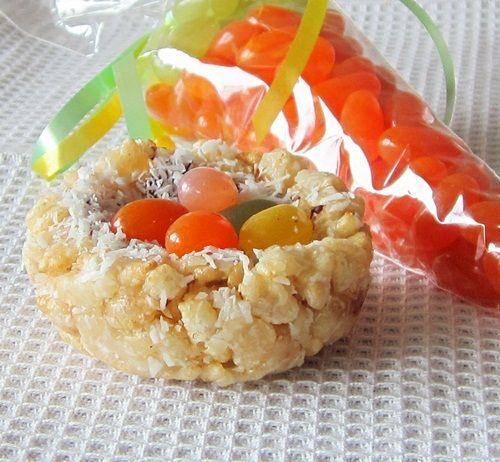 Coconut Organic Crispy Rice Treats for Easter - Vegan and Gluten-Free - http://www.attunefoods.com/blog/2012/04/coconut-crispy-treat-nests-with-jelly-bean-eggs-recipe/?utm_source=go-dairy-free_medium=referral_content=easter-crispy-treat-nests_campaign=brandam#