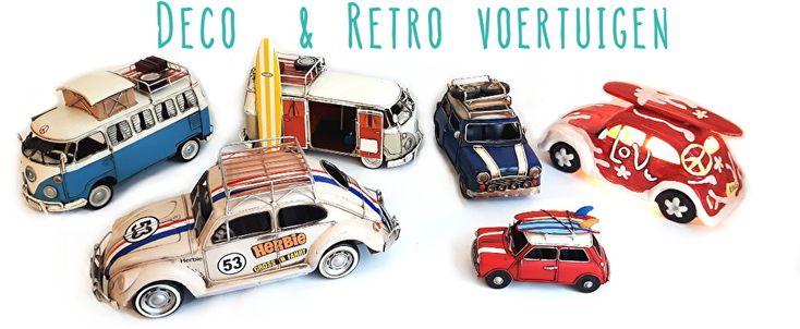 Wij hebben leuke retro spaarpotten en decoratie voertuigenmet gelijkenis van de mini cooper, volkswagen kever, Vespa'sen de volkswagen T1 camper bussen. Of je nu een auto liefhebber bent, een coole surfer of of gewoon dol bent op vintage en retro, deze deco voertuigen staan leuk inelk interieur!