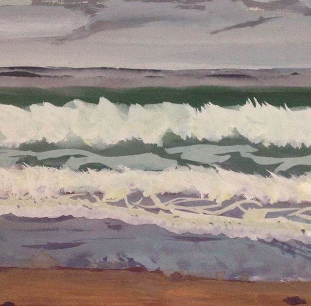 Wave and foam study - gouache on paper