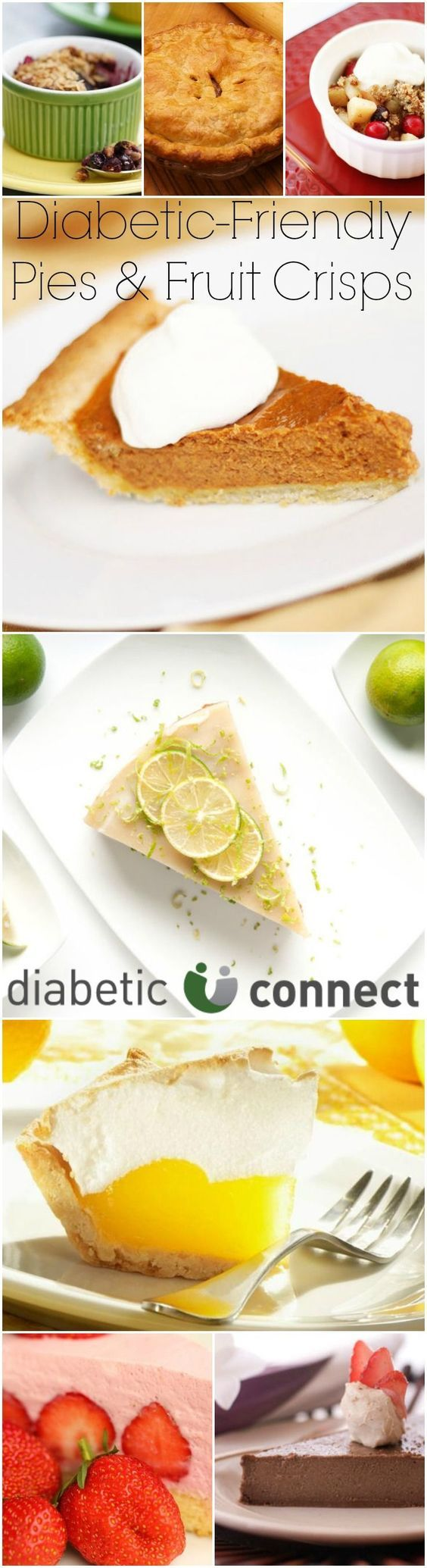 Summer, fall or winter pies and fruit crisp taste great any time of the year. Pies can be diabetic-friendly too, with recipes for strawberry, chocolate, pecan, lemon and berry. For more diabetic-friendly desserts visit diabeticconnect.com #dessert #diabetesdiet