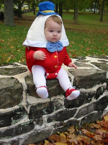 Click to see more costume idea!!  Humpty Dumpty sat on a wall! I don't want to see her great fall!! How cute!!