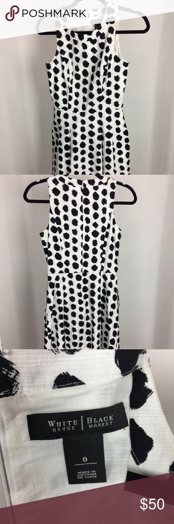 White House Black Market Polka Dot Work Dress Lovely dress for work or event White House Black Market Dresses Strapless