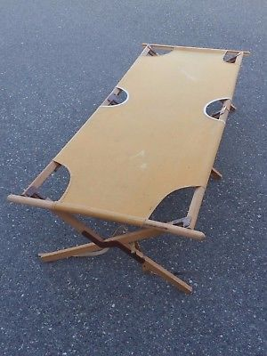 Vtg 1920s - 1940s Sun Tent Wood Canvas Folding Cot Tanning Chair Luebbert Co