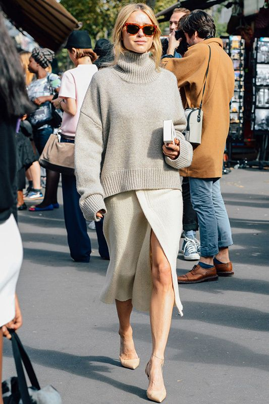 Slouchy sweater with long skirt. Source: Popbee