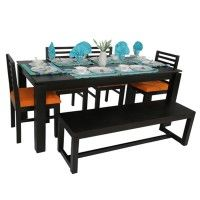Anholt 6 seater Bench Dining Table Set  Rs 33,999  Material: Sheesham Wood Color/Finish: Black Finish