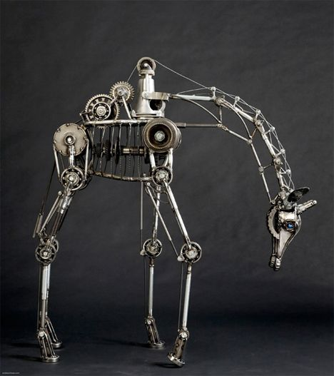 SteamPunk giraffe! by Andrew Chase (6' h, 80hrs, mechanical, moving parts, uses transmission parts / plumbing pipe / electrical conduit)