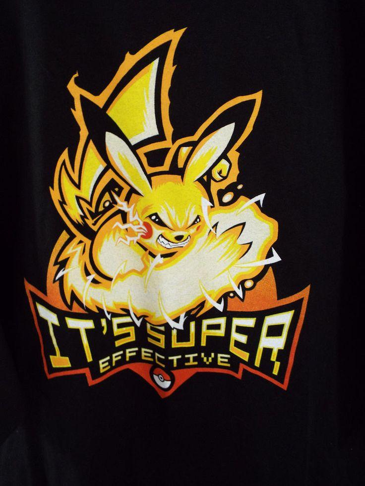 Mens TeeFury T Shirt Pokemon Its Super Effective Black Graphic Design 3XXXL #TeeFury #BasicTee