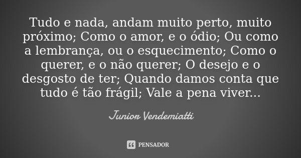 Tudo e nada, andam muito perto, muito próximo; Como o amor, e o ódio; Ou como a lembrança, ou o esquecimento; Como o querer, e o não querer; O desejo e o desgosto de ter; Quando damos conta que... — Junior Vendemiatti
