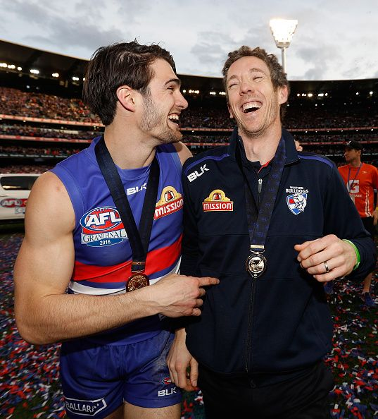 Easton Wood and Robert Murphy of the Bulldogs celebrate during the 2016 Toyota AFL Grand Final match between the Sydney Swans and the Western...