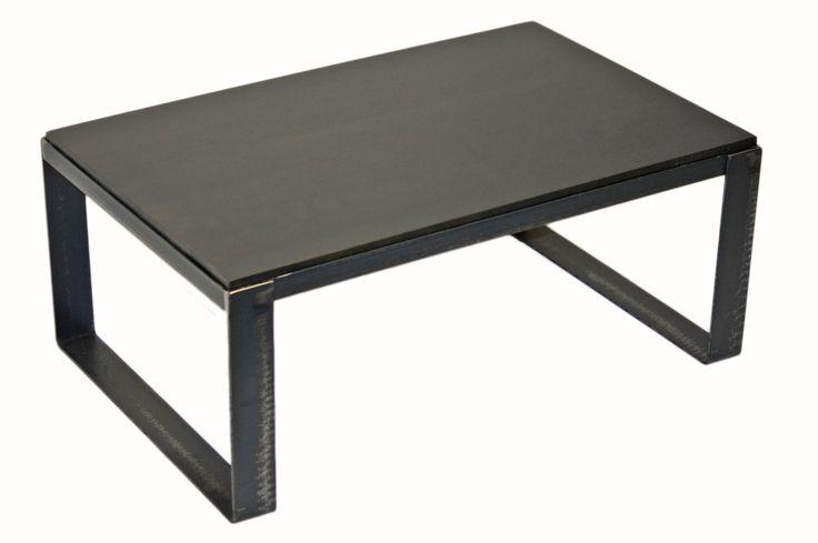 "Table basse en merisier ""Fumée"" #table #living #room #acier #steel #meuble #furniture #industriel #industrial #design #wood #bois"