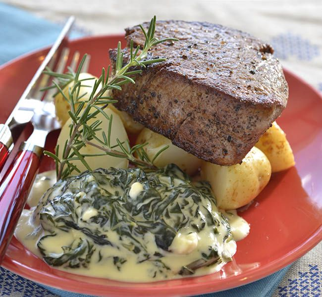 Beef fillet with creamed spinach| Your Family magazine