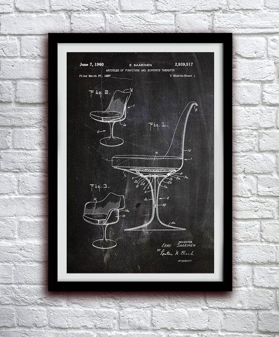 Eero Saarinen Chair. Patent Print Poster Wall (1960)