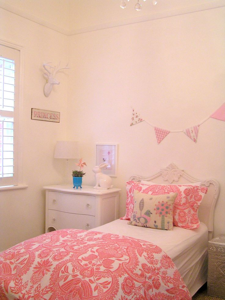 girls shabby chic french bedroom vintage pink damask bunting banner wallace cotton white deer head
