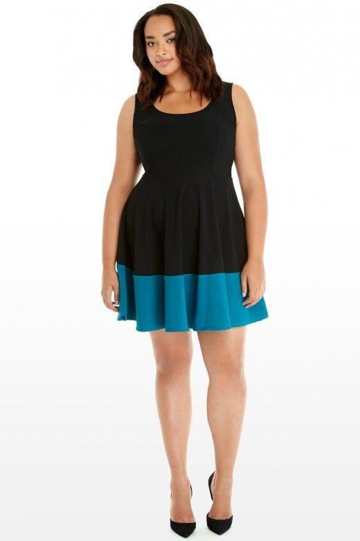 Plus Size Autumn Color Block Flare Dress Fashion To Figure