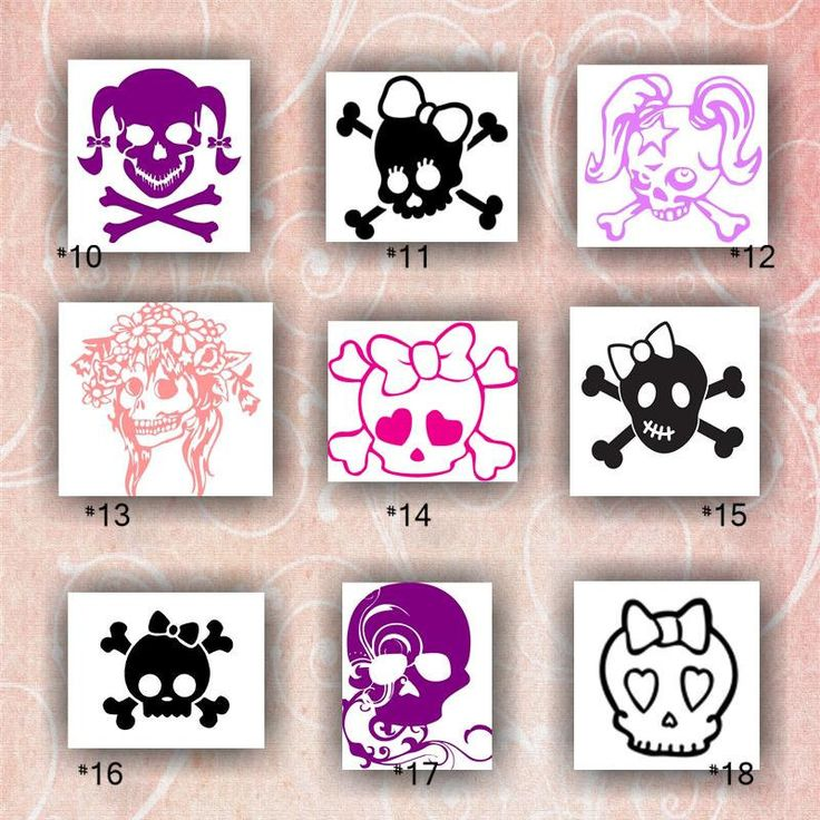 Girly skulls vinyl decals 10 18 vinyl stickers car sticker car