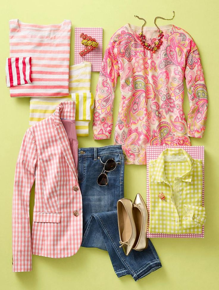 pink and cloral stripes and florals with jeans for spring - Soiree Paisley Sweater - Talbots
