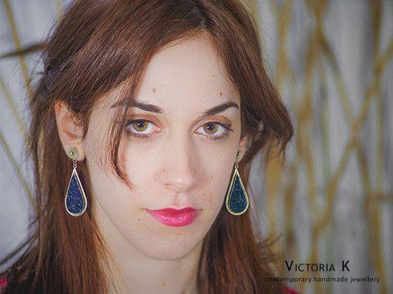 Teardrop earrings, blue druzy earrings, silver blue earrings, handmade earrings