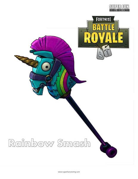 Rainbow Smash Fortnite Coloring Page Super Fun Coloring
