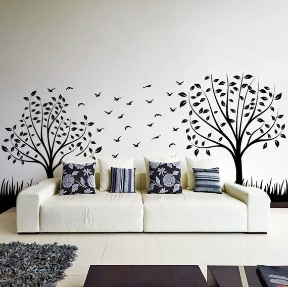 Nature Botanical Trees Decals Wall Birch Art Vinyl Nursery Stickers Tree Sticker Decal Forest Decor Natural Big Leaf Peel And Stick