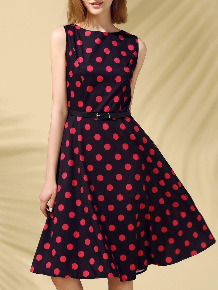Retro Style Round Neck Sleeveless Polka Dot Dress For Women #Sweet #Retro #Style #Polka_Dot #Dress #Fashion