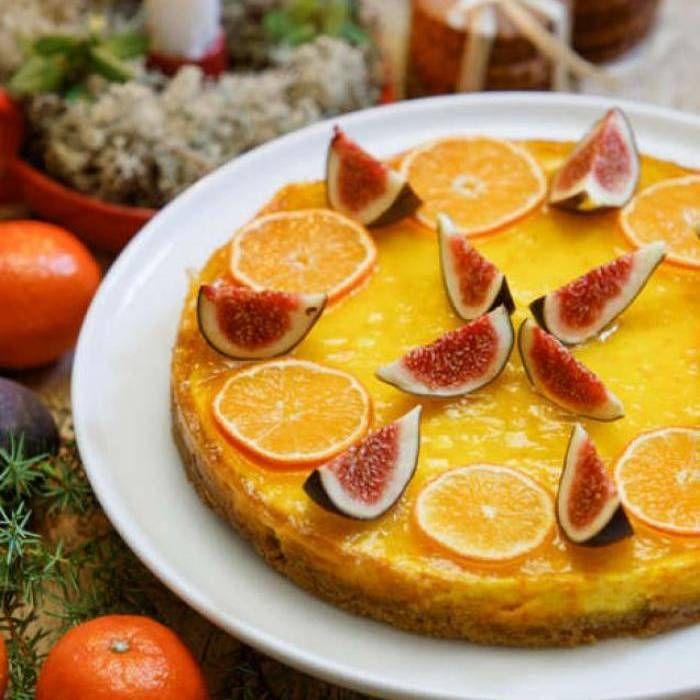 Saffranscheesecake med apelsin- & clementingelé