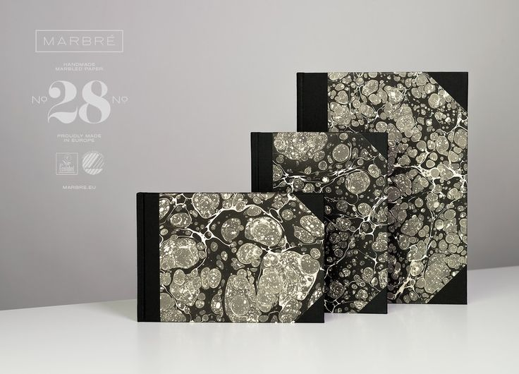 Notebooks with handmade marbled cover paper. Three sizes, ruled and plain. Every book is unique. Nordic and EU Ecolabel certified. http://marbre.eu/ #marbré #notebook #journal #cover #book #marble #handmade #ecolabel