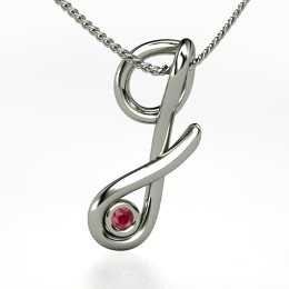 """Love Letter """"G"""" Pendant With Gem, Sterling Silver Initial Necklace with Ruby from Gemvara"""