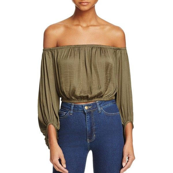 Bardot Off-The-Shoulder Top (£67) ❤ liked on Polyvore featuring tops, khaki, bardot top, brown crop top, cut-out crop tops, khaki crop top and off shoulder crop top