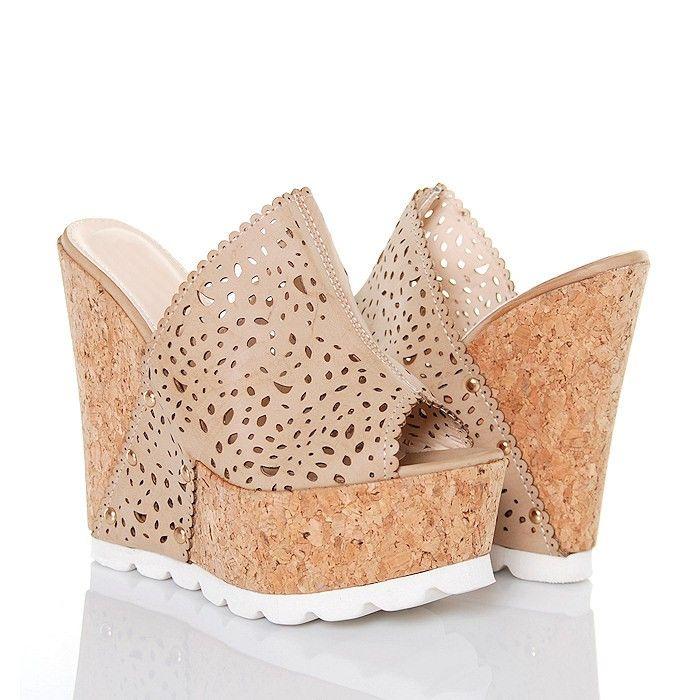 Klapki Taupe Ażurowe na Korku - www.BUU.pl #klapki #shoes #koturny