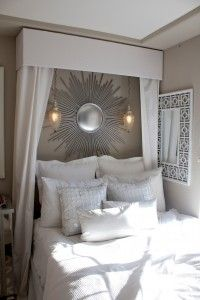 What a fantastic DIY bed canopy - love this pelmet box! Foam board, duct tape, and white linen!