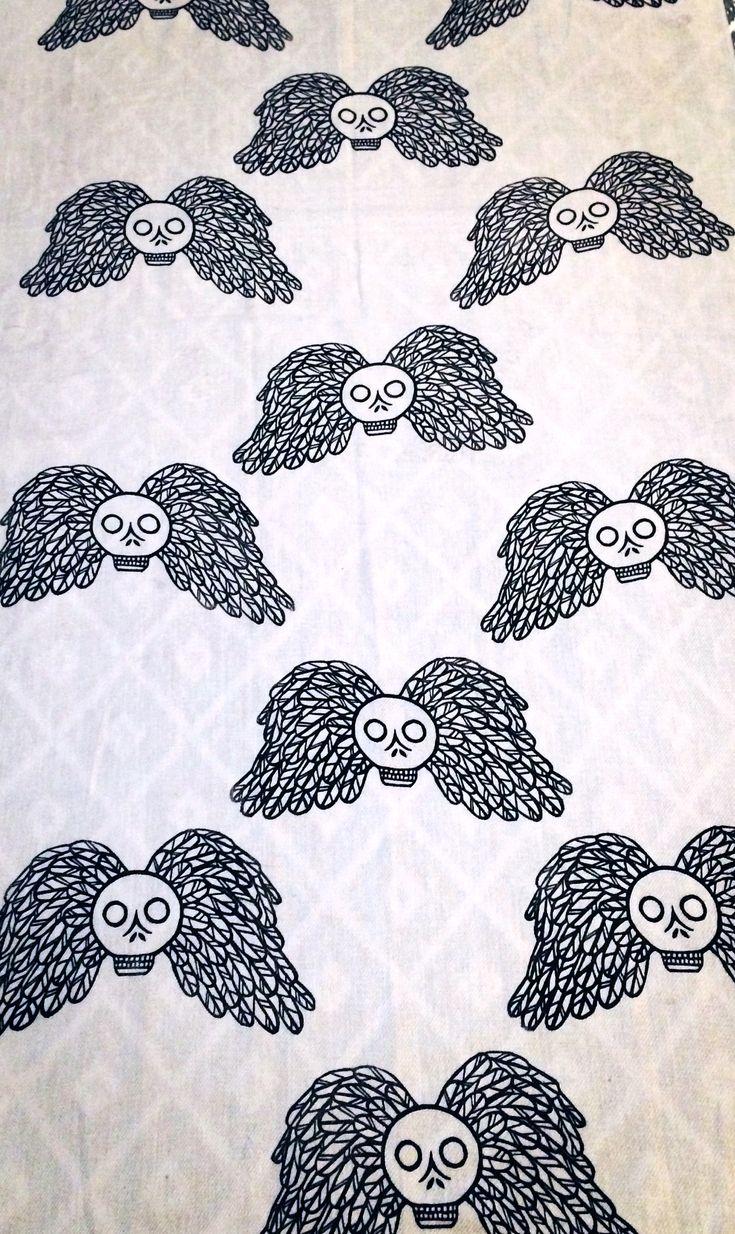 """Momento Mori"" Lino cut print on off white scarf"