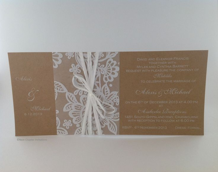 RUSTIC LACE A charming invitation using Kraft card with white ink and decorated with transparent lace ribbon and white raffia ribbon. PRICE $4.25 https://www.facebook.com/NextChapterWeddingInvitations