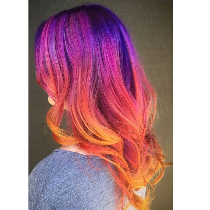 hair colour and styles for hair sunset rainbow dyed hair colored hair color colour 5489