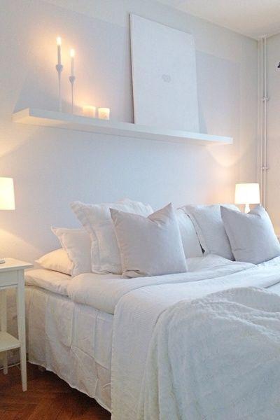 säng,fondvägg,sovrum - all white bedroom