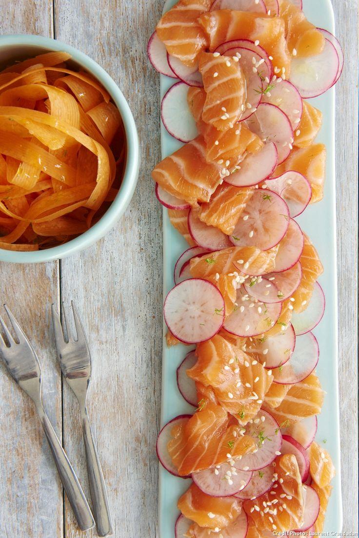 Carpaccio de saumon et crudités Pour 4 personnes 400 g saumon sans la peau 1 grosse Carotte 8 Radis ronds 30 g Graine de sésame 1 cm Gingembre râpé 2 c. à soupe Huile de sésame 1 c. à soupe Vinaigre de miel 1 c. à soupe Aneth Sel Poivre